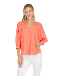 Button Down Top- Coral