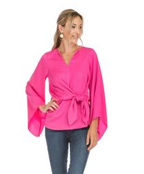 Tie Waist Bell Sleeve Top- Pink