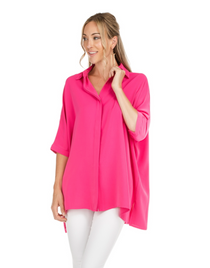 Button Down Collared Blouse- Fuchsia