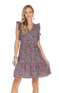 V-Neck Ruffle Dress- Clover