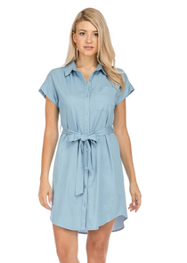 Denim Shirtdress- Light Blue