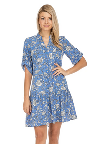 Button Down Dress- Blue Floral