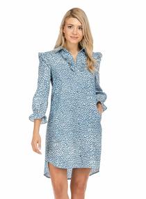 Denim Ruffle Shirt Dress- Leopard
