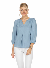 Pleated Top- Desert Blue