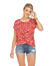 Front Twist Top- Red Brush Print