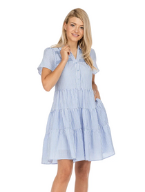 Button Front Tiered Dress- White Stripe