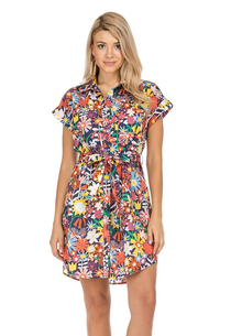 Shirt Dress- Navy Floral