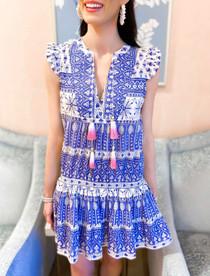 Loli Dress- Blue/White