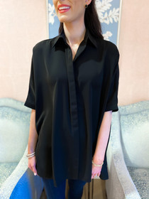 Button Down Collared Blouse- Black