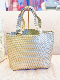 Reversible Woven Tote-  Silver/Gold