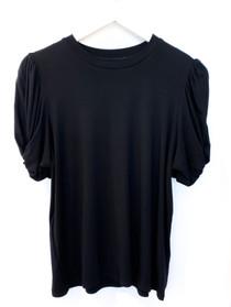 Twisted Sleeve T-Shirt- Black