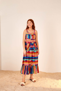 Embroidered Stripes Midi Dress- Multi Jewel