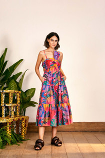 Macaw Bow Top Midi Dress- Multi