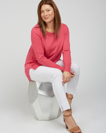 Side Slit Sweater- Bubblegum Pink