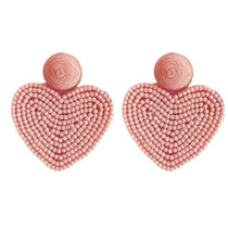 Holiday Heart Earrings- Pink