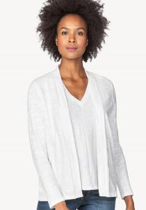 Long Sleeve Open Cardigan- White
