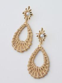 Gold + Rattan Drop Earrings
