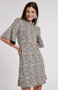 Mindy Jacquard Dress-  Zebra
