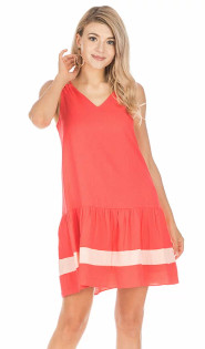 Double Strap Trim Dress- Persimmon