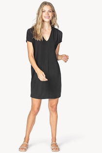Double V-Neck Dress- Black