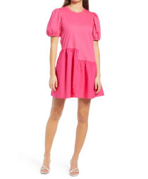 Knit Woven Mixed Dress- Fuchsia