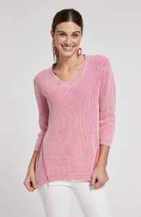 Mineral Wash V-Neck Shaker Sweater- Peony