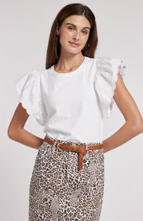 Juliette Eyelet Sleeve Top- White