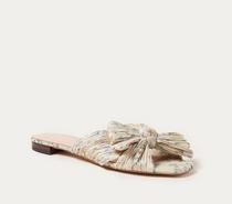 Pleated Knot Flat Sandal- Tan Floral