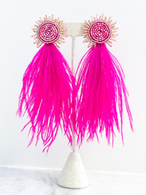 Beaded Feather Earrings- Hot Pink