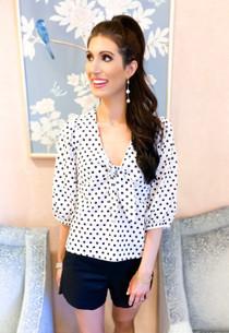 Marika Cotton Dot Shirt- White w/Black Dot