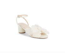 Dahlia Knot Mule with Ankle Strap- Pearl