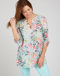 Floral Button Down Blouse- Multi Floral
