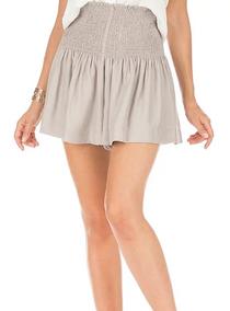 Olivia Smock Waist Shorts- Taupe