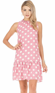 Berry Dot Flounce Dress- Berry Dot