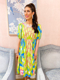 Arcadia Dress- Lime Heart Ikat