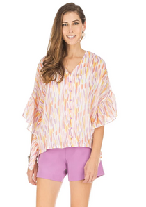 Button Front Ruffle Top- Spring Drops