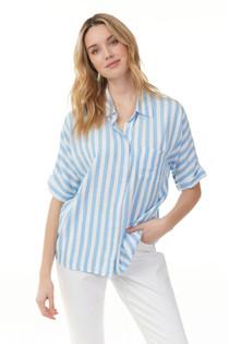 Bold Stripe Shirt- Azure
