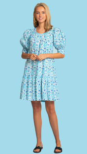 Anna Dress- Blue Climbing Vine