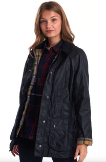 Classic Beadnell Wax Jacket- Navy