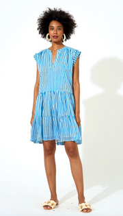 Roll Sleeve Dress- Playa Mini Blue
