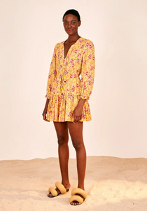 Banana Sunshine Mini Dress- Yellow/Pink