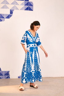Patchwork Embroidered Dress- Blue/White