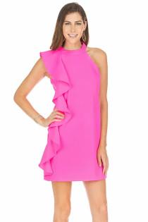 Side Ruffle Dress- Pink