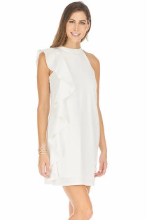 Side Ruffle Dress- White