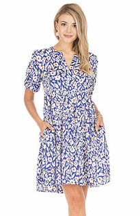 Royal Floral Tiered Dress- Royal Floral