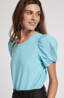Kari Puff Sleeve Tee- Sea Turquoise