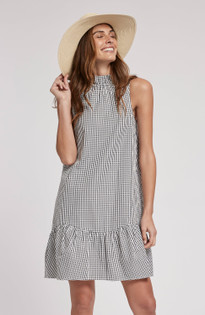 Poppy Poplin Gingham Dress- Black