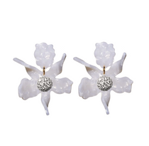 Large Crystal Lily Earrings- Mother of Pearl