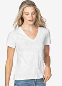 Short Sleeve Back Seam Tee- White
