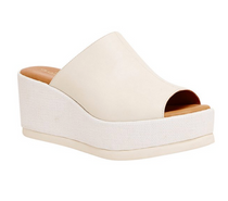 Clara Leather Platform Wedge- White